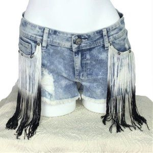 Shyanne Shy Fit 31 Fringe Distressed Denim Shorts